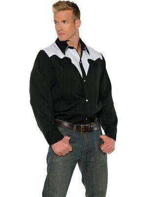 Men's Wild West Cowboy Black And White Costume Shirt - Wild West Cowboy Costume