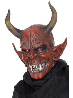 Costume Demon (Smiffys Devil Demon Satan Demonic Halloween Costume Overhead Latex Mask)