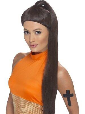 Spice Girls Brown Sporty Spicegirl Wig Ponytail Fancy Dress - Sporty Spice Halloween