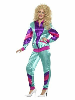 Womens 80s Track Suit Costume Real Zipper Jacket Pants Halloween Adult S M L XL - Real Halloween Costume