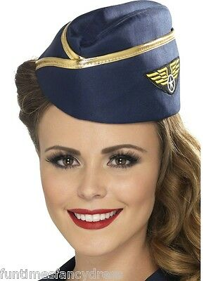 Air Hostess Fancy Dress (Ladies Navy Air Hostess Air Stewardess Hat With Badge Gold Braid Fancy Dress )