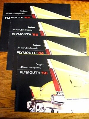 1956 Plymouth Brochure LOT (4) pcs Belvedere Plaza Savoy