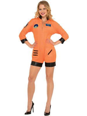 Women's Orange Hot Mission Control Astronaut Romper Costume (Astronaut Costume Women)