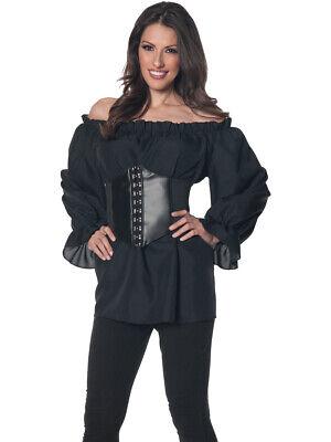 Women's Black Renaissance Long Sleeve Costume Shirt - Renaissance Shirts For Women