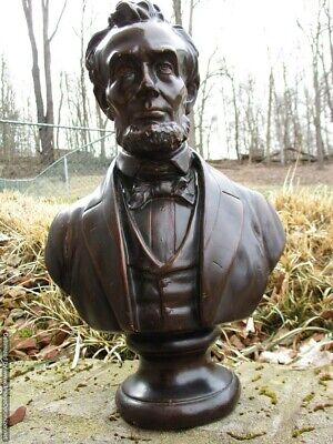 "VINTAGE ABRAHAM LINCOLN BUST BRONZE COLOR PLASTER STATUE 17"" Signed 113 for sale  Shipping to Canada"