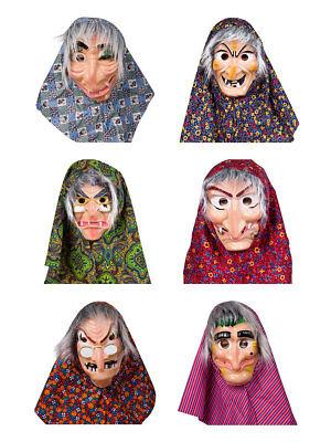 Gesichtsmaske Hexe mit Haar und Kopftuch Karneval Halloween Kostüm Märchen (Gesichts Haar Kostüme)