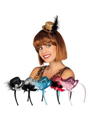 Tiara Minihut mit Feder Glitzer Party Kostüm Accessoires