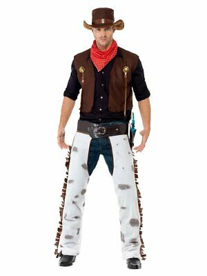 Smiffys Cowboy Sheriff Waistcoat Chaps Scarf Adult Mens Halloween Costume 20471](Cowboy Halloween Costume Men)