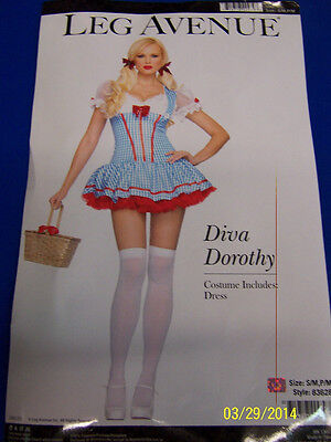 Diva Dorothy Wizard of Oz Blue Gingham Fancy Dress Halloween Sexy Adult Costume