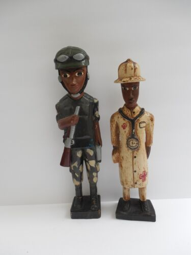 """2 X VINTAGE AFRICAN WOODEN FIGURINES DOCTOR AND SOLDIER HAND PAINTED CARVED 12"""""""