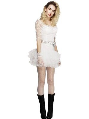 SALE Fever 80's Chick White - Eighties Lace Tutu Dress 1980's Fancy Costume - 80's Chick Halloween Costumes
