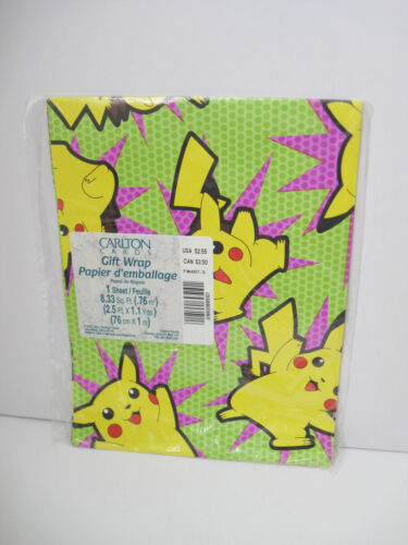 One(1) Pokemon Gift Wrap 8.33 Sq Ft Gift Wrapping Paper Sheet Pikachu *Design C*