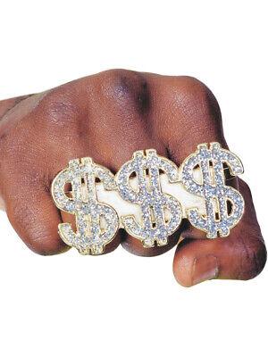 Costume Accessory Diamond Pimp Triple Dollar $$$ Ring