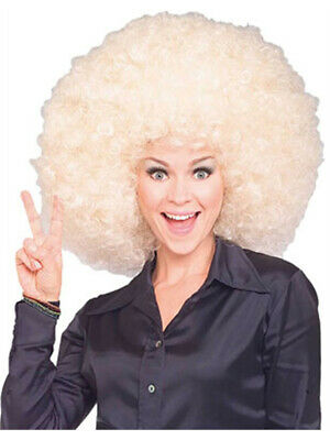 Blonde Afro Wig Costume (Mens Womens Costume Huge Blonde Afro Disco Clown)