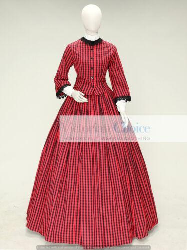 Victorian Civil War Dickens Plaid Prairie Dress Reenactment Theater Costume 144