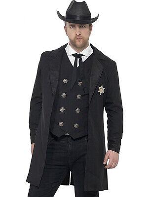 Adult's Mens Wild West Black Curves Sheriff Gunslinger Marshal Costume](Wild West Costumes)