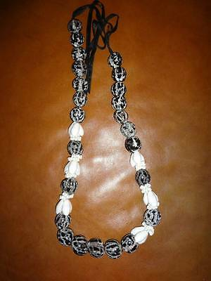 Hawiian Kukui Necklace Mongo Tiny White Shells Black Nut Wedding Graduation