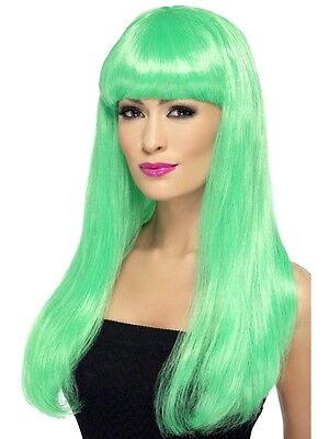Womens Girls Green Babelicious Wig Long Straight Fringe Katy Perry Colour Hair