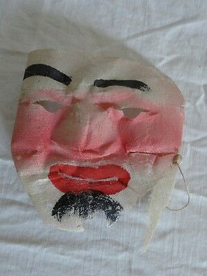Vintage 20s SAMARIA Japanese GAUZE Hand Painted HALLOWEEN Mask MOLDED