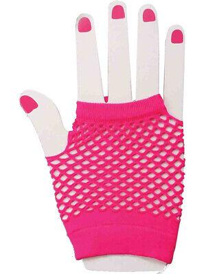 80's Neon Pink Short Fishnet Adult Gloves Adult (Pink Fishnet Gloves)