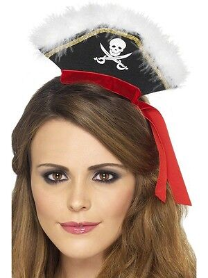 Womens Mini Pirate Hat Black Gold Red Costume Accessory Headband Style Sexy NEW](Pirate Hat Styles)