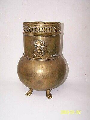 "Antique? Footed Brass Hammered 11"" vase planter with Lion Head Handles Vintage"