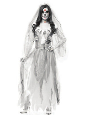 Ghost Bride Costume (Adult Women's Sexy White Grey Zombie Ghost Bride Costume)