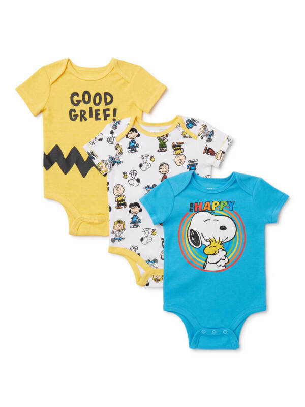 PEANUTS SNOOPY CHARLIE BROWN 3 PIECE BABY SET SIZE 0/3 3/6 6/9 12 18 24 MONTHS N