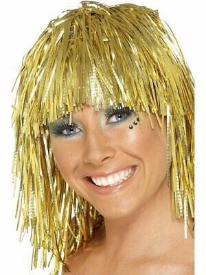 GOLD Tinsel Wig Rocker Hair Womens Adult Ladies Bright Metallic Costume Bangs