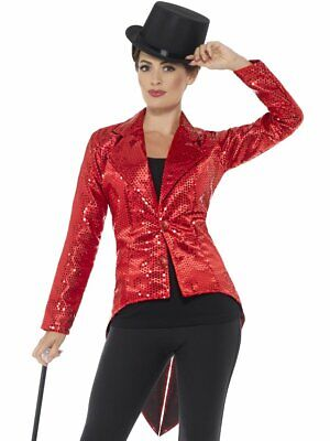 Red Sequin Tailcoat Costume Jacket Womens Adult Christmas Disco Showbiz  - Sequin Tailcoat