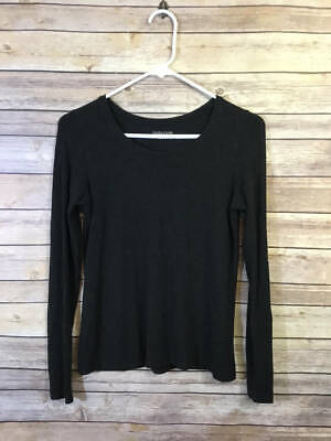 EILEEN FISHER CHARCOAL GRAY KNIT STRETCH BASE LAYER TOP P S