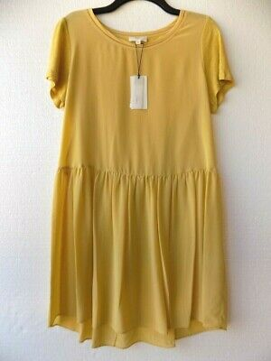 Anthropologie A  Loves A Women's Honey Gold Silk and Linen Jersey Dress sz M NWT
