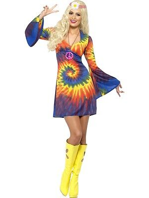 Adult Sexy Tie Die Hippie Chick Go Go 60s 70s Mod Groovy Disco Costume