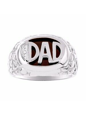 (Mens Diamond & Onyx Ring Sterling Silver or Yellow Gold Plated Silver DAD Ring)