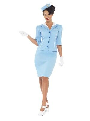 Air Hostess Retro Stewardess Flight Attendant Adult Costume](Retro Air Hostess Costume)