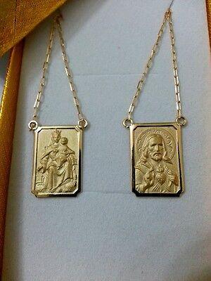 18k Scapular Gold Lady of Carmel with heart of Jesus Medium Medal - 23 in