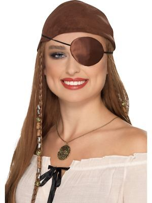 Deluxe Pirate Wench Kostüme (Smiffy's Deluxe Ladies Brown Satin Buccaneer Pirate Wench Fancy Dress Eye Patch)