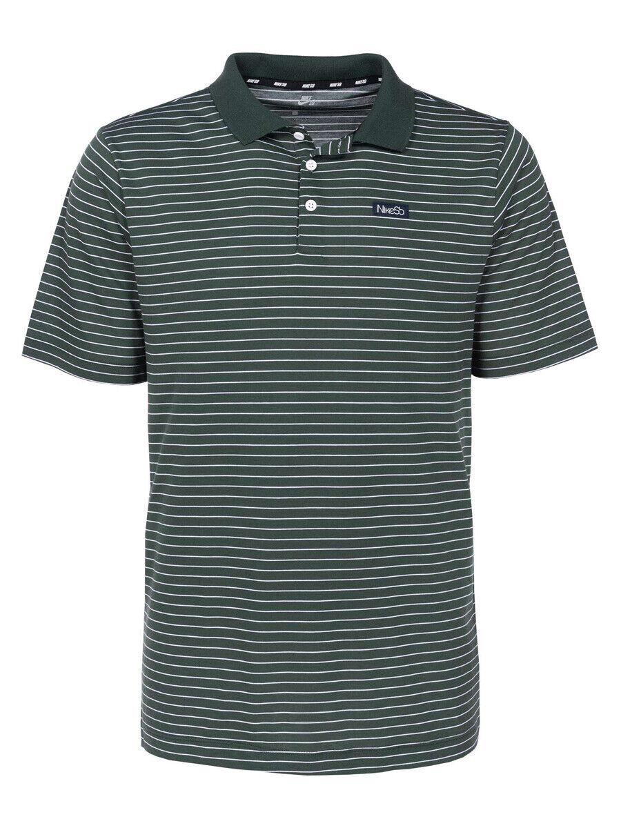 9770940f3 Nike SB Mens Dri-Fit Striped Skateboarding Polo Shirt Green/White New
