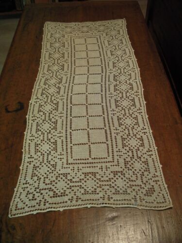 Antique Italian Filet lace Cotton Scarf / Runner - 32-inch by 13-inch