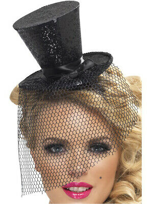 Womens Black Mini Top Hat With Detachable Black Veil Costume Accessory - Top Hat With Veil