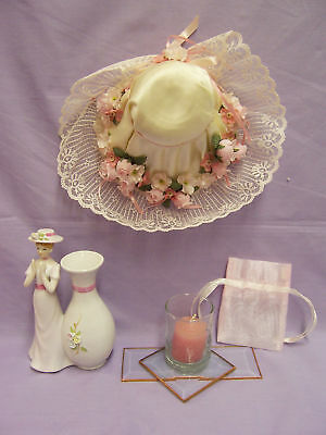 Vase Candle Stained Glass - LOT OF PINK HOME DECOR STAINED GLASS CANDLE VASE HAT