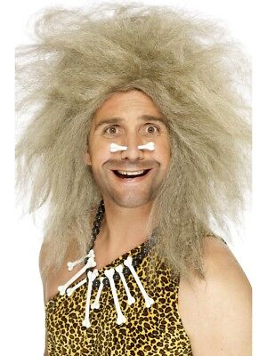 Höhlenmensch Perücke Wild Man Verrückt Blond Haar Kostüm Verkleidung Zubehör Neu