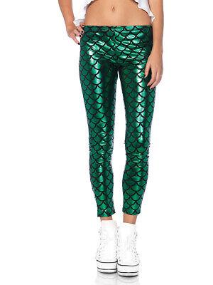 Womens Hipster Mermaid Fish Scale Print Green Leggings (Costume Hipster)