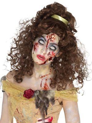 SMI - Damen Perücke Zombie Prinzessin braun lockig (Braune Perücke Prinzessin)