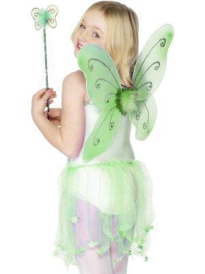 Grün Kinder Fee Schmetterling Pixie Wings Zauberstab Kostüm Märchen Büchertag