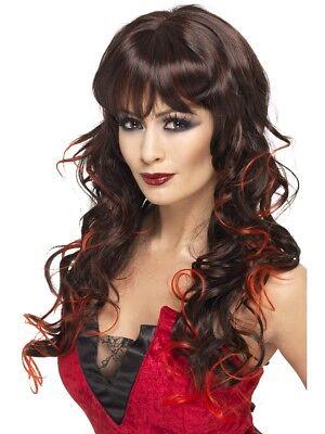 Neu Vixen Vampirin Perücke Halloween Damenmode Kleid Kostüm Schwarz und Rot