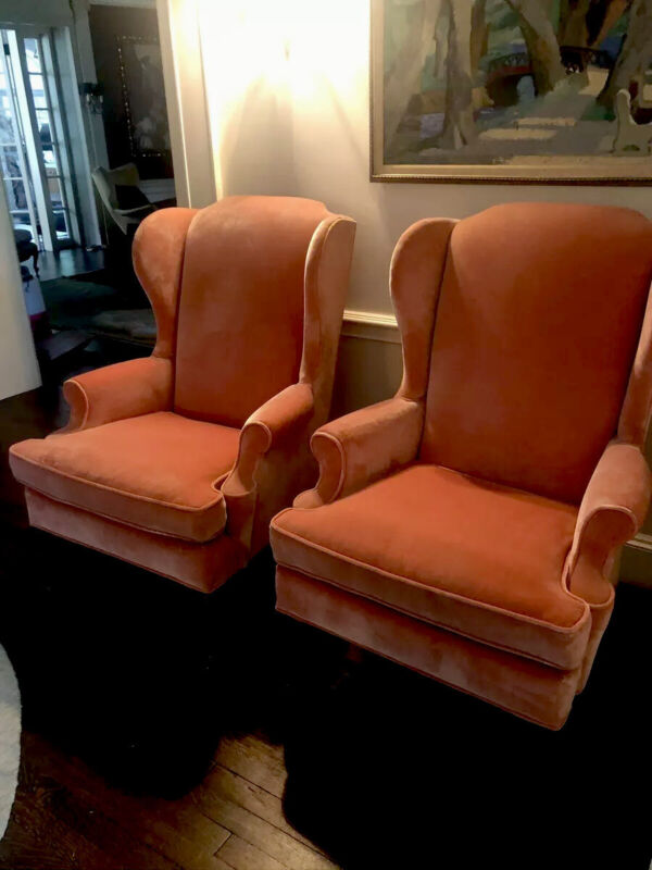 Empire Chairs PAIR WINGBACK !!! Excellent Condition Salmon Color