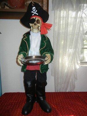 ANIMATED TALKING PIRATE SKELETON BUTLER HALLOWEEN PROP - CANDY SERVER GREETER](Halloween Pirate Talk)