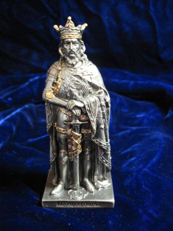 Heavy Pewter & Gilt Ornate Mircea cel Batran King - Signed
