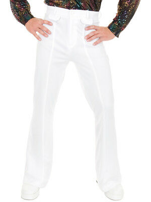 Mens White Disco Pants (Adult Mens 70s Disco Leisure White Polyester)